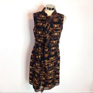 Elie Tahari wool blend ruffle belted dress